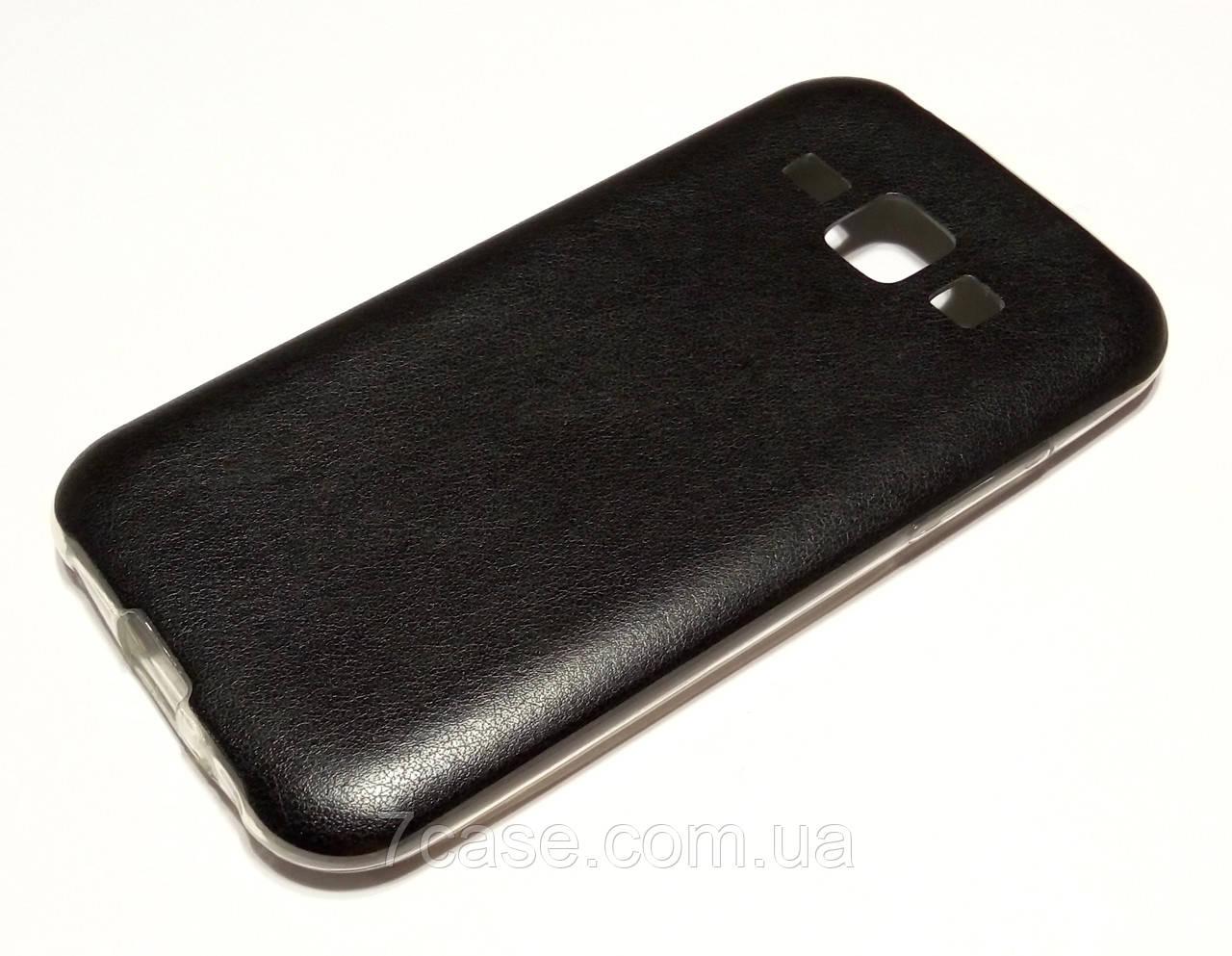 Чохол для Samsung Galaxy J1 j100 (2015) силіконовий під шкіру чорний