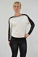 Белые женские свитера с черным кружевом CASCA Z0007