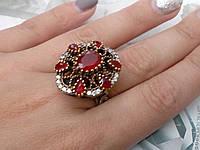Красивое кольцо с камнем рубин. Кольцо с рубином. Индия!, фото 1