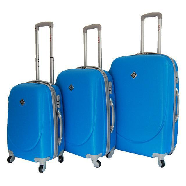 Набір валіз на колесах Bonro Smile Блакитний 3 штуки