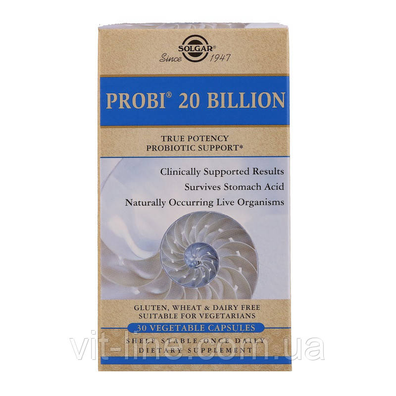 Solgar, Пробиотическая добавка Probi 20 Billion, 30 вегетарианских капсул