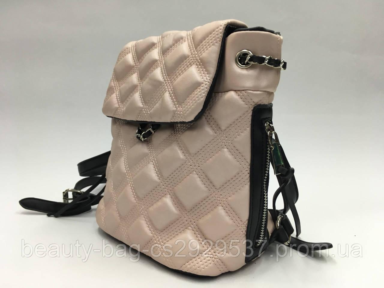 Рюкзак молодежный Vivi А6-В270 Польша Pink metalik светло-серый/розовый