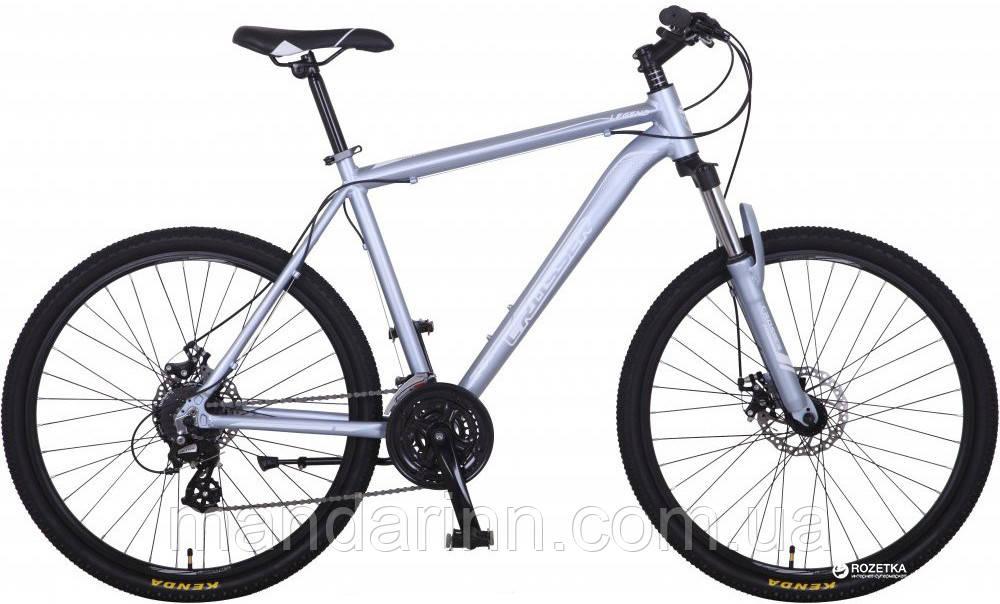 Горный велосипед Алюминиевый Crosser Legend 26 дюймов, дисковые тормоза. Серебро