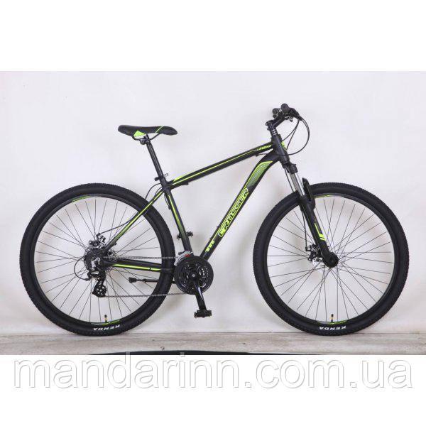 Горный велосипед Алюминиевый Crosser Legend 26 дюймов, дисковые тормоза. Черно-салатовый