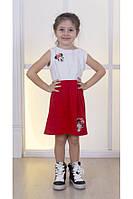 Детское летнее платье с Миккимаусом, бело-красное