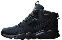 Кросівки чоловічі, obuwie męskie найк, найкі, найки Nike Air Huarache High Top Triple Black.