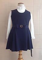 Сарафан школьный синий Ahsen с карманами и поясом