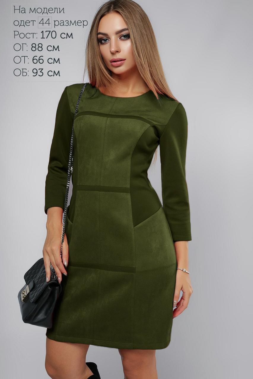 f21450269f0be9 Платье замша полоска Хаки 3073 - Интернет-магазин