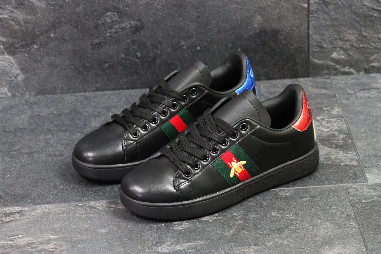 Мужские кеды  Gucci (черные), ТОП-реплика