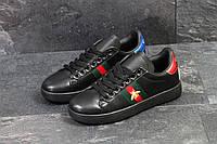 Мужские кеды  Gucci (черные), ТОП-реплика, фото 1