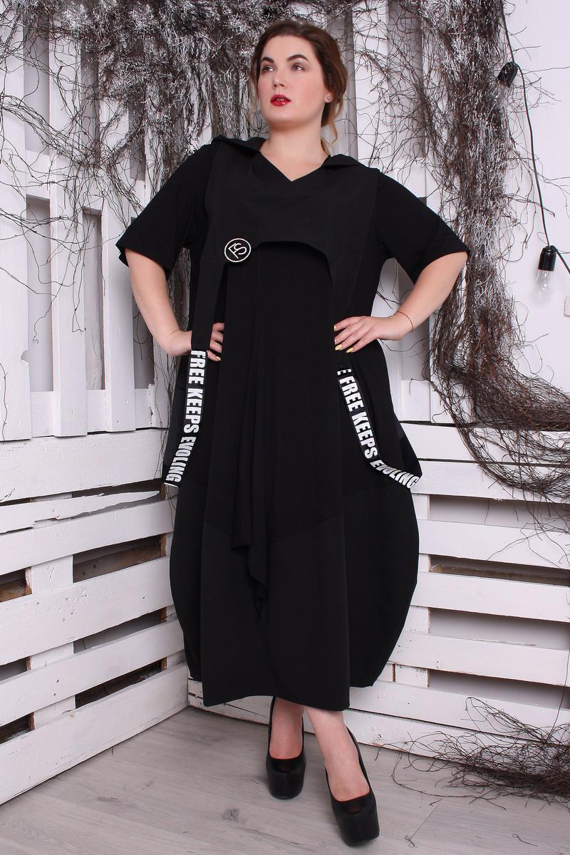 63eaeab3b91 Черное модное платье больших размеров Имидж (54-70) - DS Moda - женская