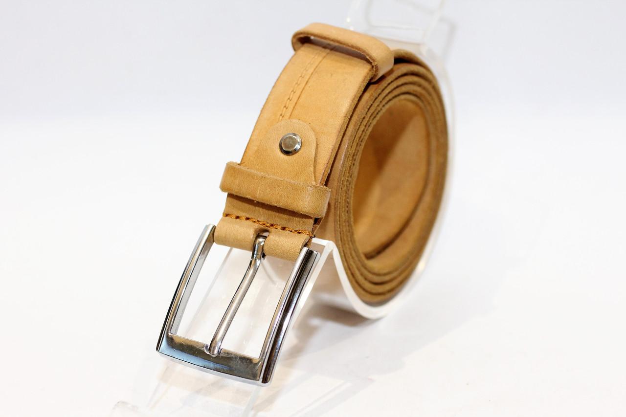 Кожаный брючный пояс из плотной кожи с классической пряжкой. (12329)