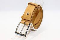 Кожаный брючный пояс из плотной кожи с классической пряжкой. (12329), фото 1