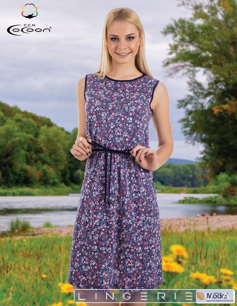 Жіноча літня сукня без рукавів середньої довжини з поясом Cocoon 11 379