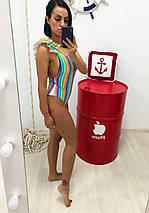 """Цельный женский купальник """"NINELLE PRINT"""" с рюшами и принтом (2 цвета), фото 3"""
