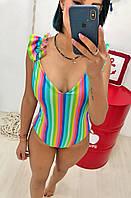 """Цельный женский купальник """"NINELLE PRINT"""" с рюшами и принтом (2 цвета)"""