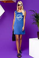 Легкое Короткое Платье из Шелка с Карманами  Синее S-XL, фото 1