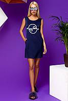 Легкое Короткое Платье из Шелка с Карманами  Темно-Синее S-XL, фото 1