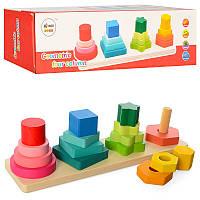 Деревянные игрушки Геометрика Пирамидка 16 деталей, MD 1216, 008593