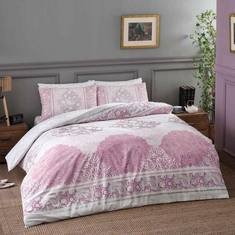 Постельное белье Tac ранфорс - Aryan pembe v02 розовый семейное