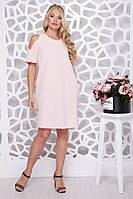 Женское ботальное платье свободного силуэта Милан / цвет персик / размер 48-62