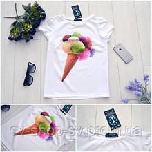 """Женская стильная белая футболка """"Мороженко"""""""