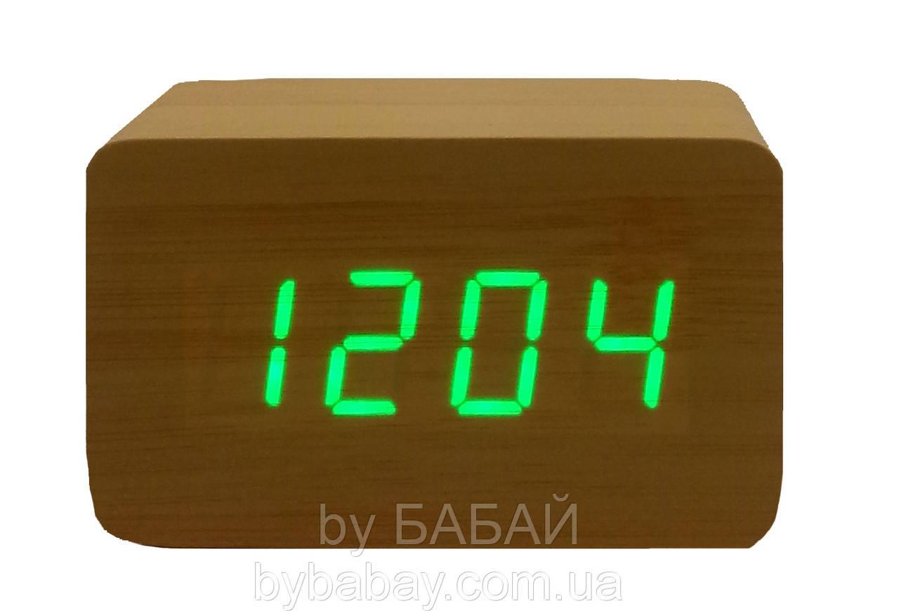 Часы светодиодные от батареек под дерево