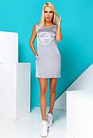Легкое Короткое Платье из Шелка с Карманами Стальное S-XL, фото 1