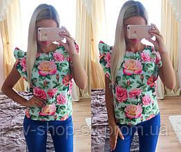 Женская стильная блузка с цветами и воланами (2 цвета)