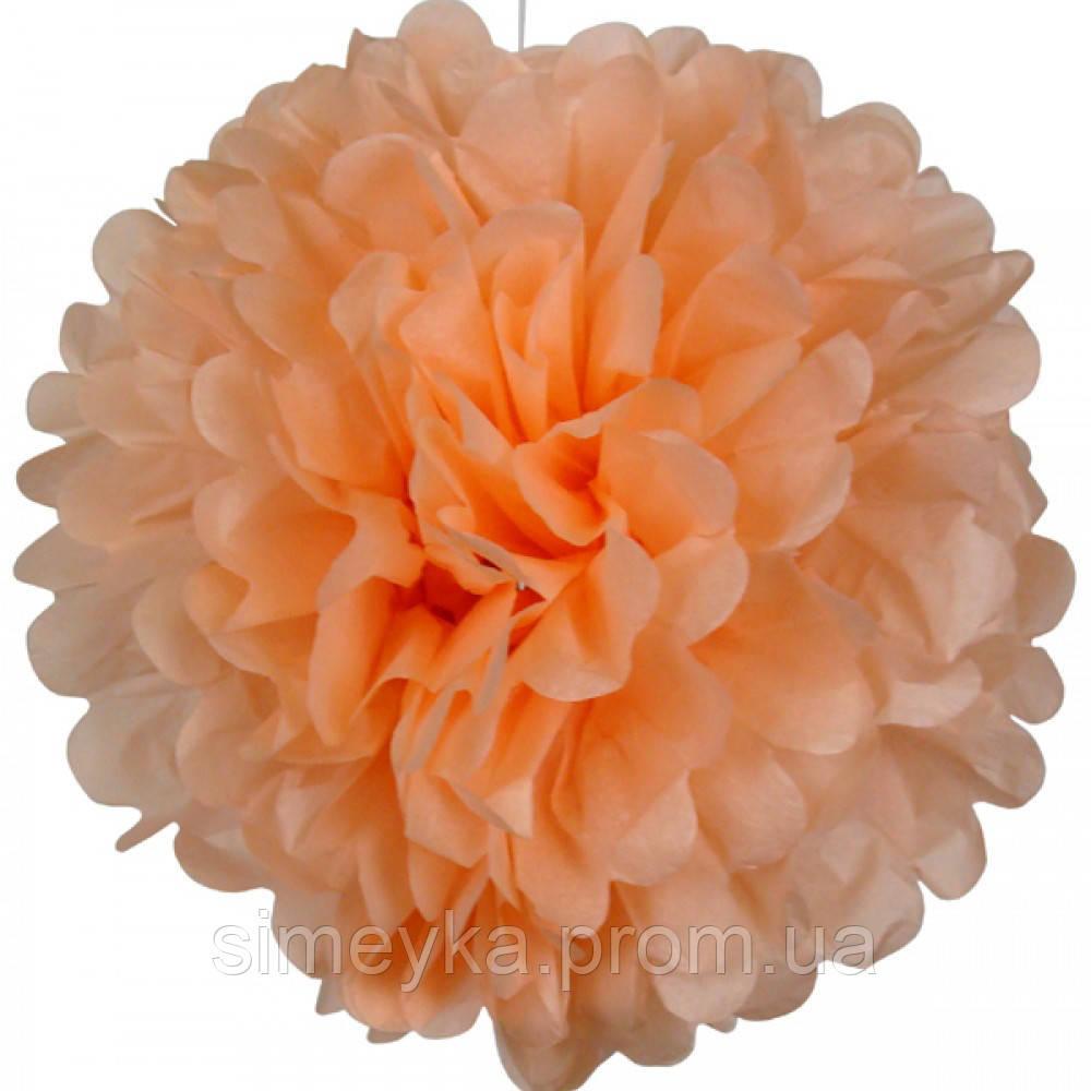 Помпон для святкового декору із паперу тішью, діаметр 30 см. Персиковий