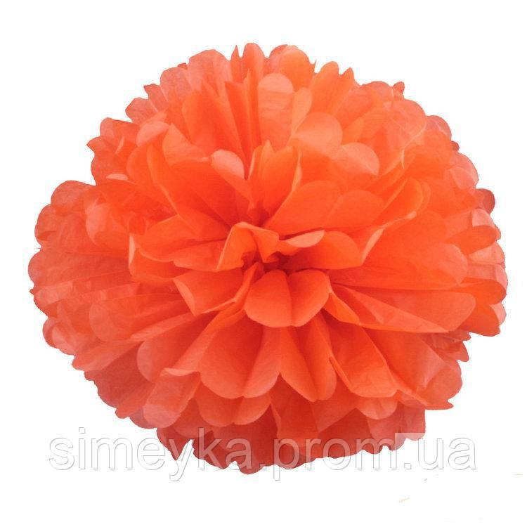 Помпон для святкового декору із паперу тішью, діаметр 30 см. Оранжевий