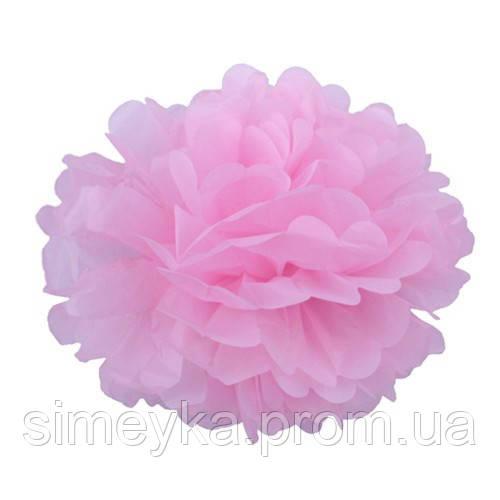 Помпон для святкового декору із паперу тішью, діаметр 30 см. Рожевий