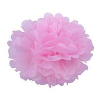 Помпон для святкового декору із паперу тішью, діаметр 30 см. Рожевий, фото 1