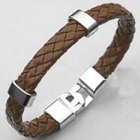 Плетёный наручный браслет «Cosa» с металическими вставками (коричневый)