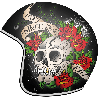 MT LE MANS 2 SV Skull & Roses A1 Gloss Red, XS - Мотошлем лицевик с очками