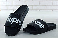 Supreme Slippers Black, чоловічі шльопанці баленсіага.
