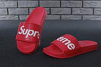 Supreme Slippers Red, чоловічі шльопанці баленсіага.