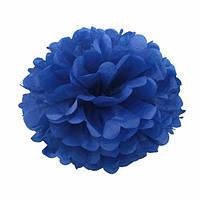Помпон для святкового декору із паперу тішью, діаметр 30 см. Темно-синій (в реальності темніший, ніж на фото), фото 1