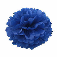 Помпон для святкового декору із паперу тішью, діаметр 30 см. Темно-синій (в реальності темніший, ніж на фото)