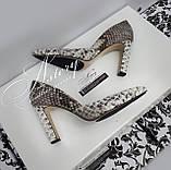 Жіночі сірі туфлі з пітона на високому каблуці-стовпчику, фото 2