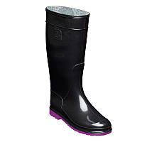 Резиновые сапоги женские Черные OLDCOM Олдком с фиолетовой подошвой
