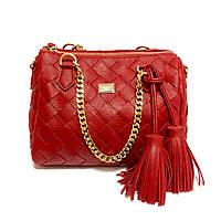Красная, вишневая классическая сумка на средних ручках с бахромой