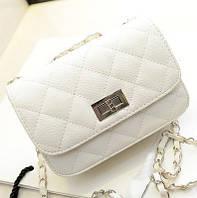 Женская маленькая сумочка на цепочке белая, фото 1