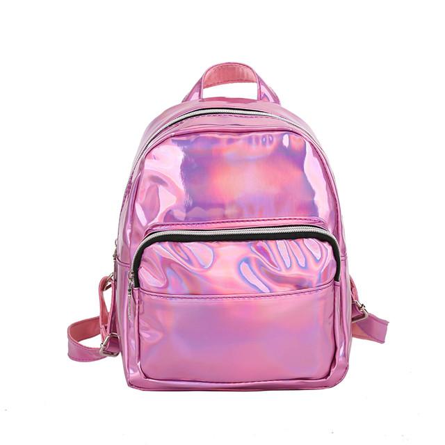 маленький голограммный рюкзак розовый