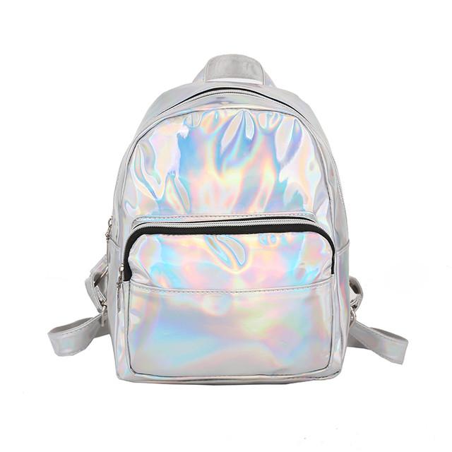 маленький голограммный рюкзак серебро