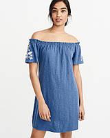 Женское синее хлопковое мини платье с вышивкой Abercrombie & Fitch, фото 1
