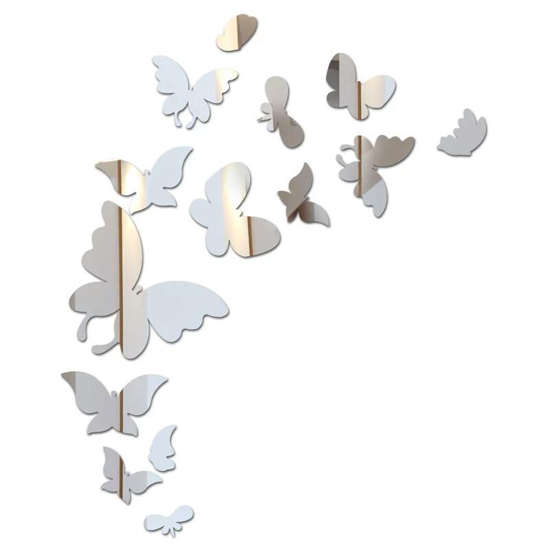 """Наклейка на стену, виниловые наклейки, украшения стены наклейки """"Большие бабочки зеркальные 14шт набор"""""""