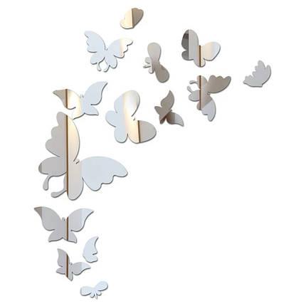 """Наклейка на стену, виниловые наклейки, украшения стены наклейки """"Большие бабочки зеркальные 14шт набор"""", фото 2"""