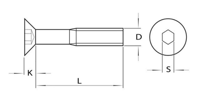 Схема оцинкованного винта DIN 7991 с потайной головкой
