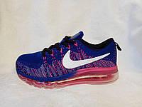 Женские кроссовки Nike air max flyknit синие, фото 1